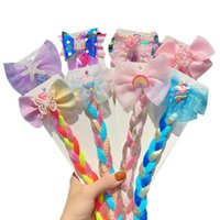 Accesorios para el cabello Girls Lindo Cartoon Chiffon Bow Color Colorido Twist Braid Decorar Diadema Niños Encantador Hairbands Moda