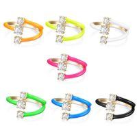 Rainbow Fashion Women Jewelry Candy Neon Esmalte Colorido Anillo de Dedo Para Mujeres Abrir Ajuste Tamaño 210310