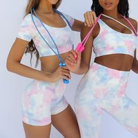 Yoga Outfits LeoSoxs Набор мягких цифровых печатных спортивных жилет Шорты высокой эластичности Фитнес-костюм для женщин1