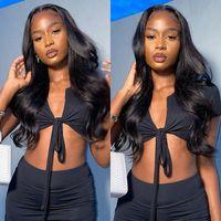Parrucche del corpo umano anteriore del pizzo Parrucca brasiliana del corpo del corpo per le donne nere FairGreathair 4x4