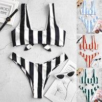 Women's Swimwear Swimming Suit 2021 Sexy Bikini Swimsuit Womens Striped Print Set Bandage Tankini Beach Bathing