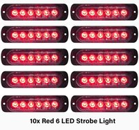 10 STÜCKE Rote Notfallblitzlichter 6-LED Warnung 6-SMD Blinklicht VORSICHT Baulicht Bar Van Off Road Fahrzeug ATV SUV