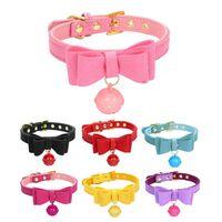 Massivkatze Hundehalsband mit Glocken einstellbar Doppel Bowknot Kätzchen Welpen Halsband Nette PU Personalisierte Haustierkette für Chihuahua