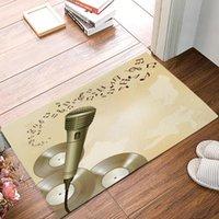 Microphone Microphone CD Music Notes Famille Porméat Cuisine Salon Salon Tapis Salle de bain Salle de bain Tapis de pied antidérapant Entrée Hall d'accueil Tapis de bienvenue