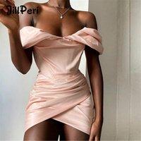 Jillperi fuera del hombro Mini vestido de moda Fashion Christmas Celebrity Satin Pink Cumpleaños Club Trajes Mujeres sexy vestido de fiesta 210303