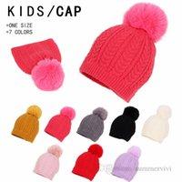 Baby Kids candy color twist knitted hat girls faux fur pompon beanie boys protect ear beret autumn winter children warm accessoires Q2194