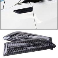 ألياف الكربون نمط الجانب درابزين تنفيس شبكة الهواء نمط الجناح غطاء تقليم سيارة التصميم القرش جيل abs 3d ملصقا العادم تنفيس