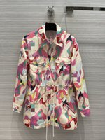밀라노 활주로 재킷 2021 봄 여름 긴 소매 후드가있는 패널 여성 디자이너 브랜드 같은 스타일 코트 0316-9