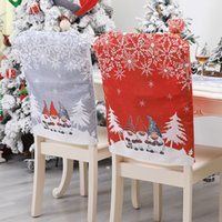 Christmas Chair Cover Santa Claus Dinner Back Cap Printed Chairs Covers Xmas Home Banquet