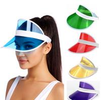 قبعة الشمس الصيف للجنسين الأطفال في الهواء الطلق شفافة pvc فارغة أعلى قبعة الأشعة فوق البنفسجية قن القبعات الأزياء الصيف في الهواء الطلق قبعة حزب LJJK2521