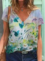 Women's T-Shirt V-Neck Casual Tops Cozy 2021 Fashion Butterfly Print Lady Clothes Short Sleeve T-Shirts Loose Top