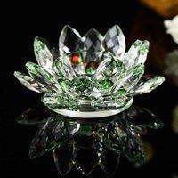 Renkli Kristal Lotus Mum Cam Çiçek Mum Işık Tutucu Tutun Şamdan Ev Dekorasyon Hediye Budist Şamdan 2021 1