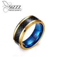 Wedding Rings SIZZZ Men's 8 Mm Tungsten Steel Carbon Fiber Ring Gold Blue Color European Style Jewelry For Male Wholesale