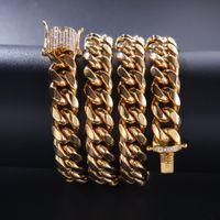 12mm Crystal Zircon en acier inoxydable Chaîne cubaine Diamant Diamant Bracelet Colliers pour hommes Nightclub Hip Hop Fashion Bijoux volonté et sableux