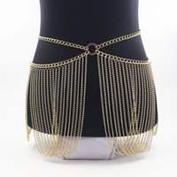 Luxury gold color metal female fashion stage performance belly personality beach bikini tassel waist chain