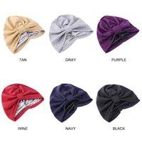 Women Elastic Turban Soild Color Double Layer With Satin Linner Headwear Night Sleep Cap Beanie Head Wrap Hair Accessories