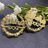 Custom Bamboo Earrings Hoop Acrylic Personalize Name Earrings Personalize Jewelry Fashion Show Charming Earrings Gold Gift 210924