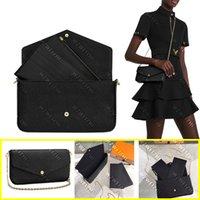 Натуральная кожаные женские сумки на плечо 3-х частей кожаные модные сумки дам тиснение сумки (с двумя съемными внутренними карманами и золотой цепью) высокого класса кошелек с коробкой