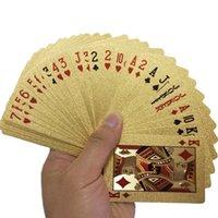 Venta al por mayor-24k Oro Tarjetas de juego Poker Game Deck Gold Foil Poker Set Plastic Magic Card Tarjetas impermeables Magic NY086 417 Y2
