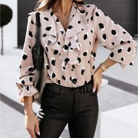 Women's Blouses & Shirts Autumn Ruffles Wave Point Print Long Sleeve V-Neck Single Breasted Female Shirt All-Match Elegant Ladies Clothes