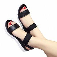 Ücretsiz Kargo 2019 Yaz Leopar Tahıl Sandalet Kadın Sandalet Ayakkabı Kadın Peep-Toe Düz Ayakkabı Roma Kadınlar U3A4 #
