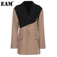 Women's Suits & Blazers [EAM] Women Khaki Irregular Contrast Color Big Size Blazer Lapel Long Sleeve Jacket Fashion Tide Spring Autumn 2021
