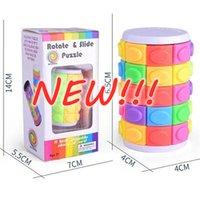 스톡 3D 회전 슬라이드 퍼즐 타워 마법 큐브 슬라이딩 장난감 실린더 교육 지능 게임 아이들을위한 정신적 인 지능 게임 어린이 DHL 배송