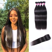 Brazilian Virgin Hair 4 Bundles Remy Human Hair Wefts Straight Wave With Closure 4*4 Peruvian Weaves Color 1B Ombre Human Hair Weave Extensions