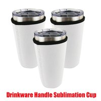 Drinkware Handle Mugs Sublimation Blanks Reusable 30oz Iced Coffee Cup Sleeve Neoprene Insulated Sleeves Cover Bags Holder Handles For 20oz 32oz Vacumm Tumbler