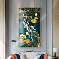 Wall Art Picture immagine HD stampa cinese astratto nove koi pesci pittura a olio su tela poster per soggiorno arredamento moderno 210310