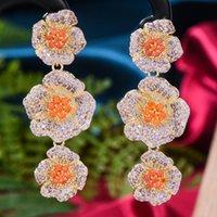 Dangle & Chandelier GODKI Summer Multicolor Flower Link Chain Earrings For Women Wedding Zircon Dubai Bridal Costume Jewelry Gift Party
