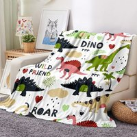 CLOOCL 3D Printed Flannel Blanket Cartoon Dinosaur Plush Blankets Kids Air Conditioning Sofa Quilt Teens Bedding Throw Personality DIY Custom