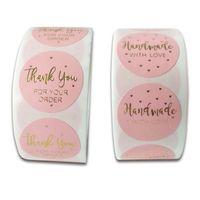 500 шт. Круглые этикетки ручной работы крафт бумаги розовый горячий золотой упаковочный стикер конфеты сумка подарочная коробка упаковка свадьба спасибо наклейку
