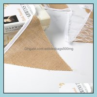 Festive Supplies Home & Gardenlace Burlap Triangle Banner Diy Decoration For Wedding Shower And Party 12 Flags White Floral Lace Collection
