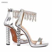 Été Nouveau cuir Chaussures pour femmes avec sandales strass Sandales authentique Super Star Fashion Marque 12cm Houxi Mode Show 3-8 9 Bbzai
