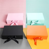 20Pcs Kraft Box Magnetic Closure Foldable Gift Packaging Boxes with Ribbon Wholesale Custom Cosmetic Corrugated Box Packaging