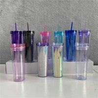 Cheapest!! 10 Colored 20oz Acrylic Skinnny Tumbler with Lid Straw Walled AS Reusable Plastic Cups Clear Straight Travel Water Bottles 269 S2