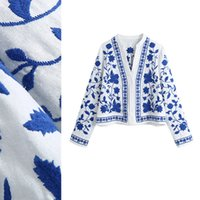 New design women's retro ethnic nation style blue and white porcelain embroidery cotton linen fabric blouse t-shirt long sleeve tops XSSML