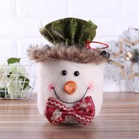 Christmas Decorations 3 Types Sacks 3D Doll Linen Gift Bag Reusable Drawstring Wrap Present Party Bags Storage Supplies For