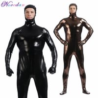 Catsuit-Kostüme Männer Metallic Wetlook Latex offenes Gesicht einteiliger Bodysuit Zentai Anzug Shinny Kunstleder Fetisch Cosplay Kostüm Club Wear