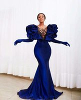 2021 Modest Velvet Royal Blue Mermaid Prom Dresses Plus Size Ruffles Black Crystal Beads Cap Sleeve Elegant Formal Evening Gowns vestido de novia