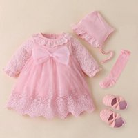 Girl's Dresses Baby Girls Princess Dress 1st Birthday Outfit Wedding Christmas Party Hat Headband Tights Shoes Set