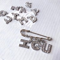 Pins, Brooches INS Customize Name Crystal 26 English Letters Pin Accessories For Women Men DIY Shoe Buckle Clips Hat Clothes Lapel