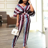 Women's Tracksuits ensemble of 2-piece, striped with top and high-waisted pants, broad-legged casual two-piece birthday 47D4