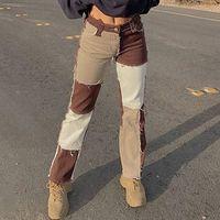 Autumn Brown Women Cowboy Striped Patchwork Jeans Street Casual Hip Hop High Waist Loose Straight Women's Fashion Pants