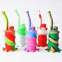 다채로운 두개골 휴대용 오일 드럼 물 담뱃대 실리콘 봉수 흡연 마른 허브 수콜라 파이프 유리 그릇 장비 도구 액세서리