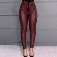 Women's Pants & Capris Women High Waist Casual Fashion Ladies Bowknot Long Slim Skinny Bandage Elastic Pencil Trousers With Sashes#3