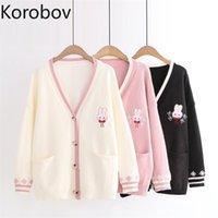 Korobov Autumn Winter Long Sleeve Women Sweaters Sweet V Neck Jumper Femme Kawaii Knitted Sueter Mujer Outwear 210809