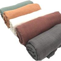 Color sólido cobertores de bebê recém-nascido Muselina Bebe Algodon Algodão Swaddle Envoltório Sleepsacks Bambu Toalhas de Banho Carrinho de Carrinho 210309