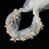 عرس الزفاف عقال رومانسية مع شبكة الحجاب الكريستال سلسلة اللؤلؤ زهرة الشعر هوب مجوهرات حزب جنية غطاء الرأس